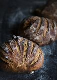 Big round loaves of bread food photography recipe ideas Royalty Free Stock Photography