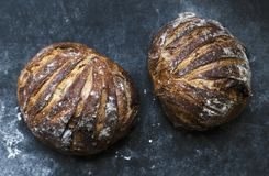 Big round loaves of bread food photography recipe ideas stock photography