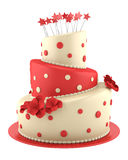 Big round red and yellow cake isolated on white Royalty Free Stock Images