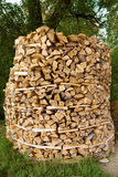 Big round stack of wood Royalty Free Stock Photo