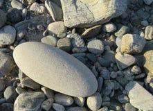Big round stone amongs pebbels. Extraordinary stone among stones in gray shadesn Stock Photography