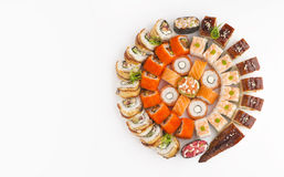 Big round sushi set with different kind of rolls Royalty Free Stock Photo