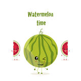 A big round watermelon. The illustration. A big round watermelon is and two pieces cut from a watermelon stand and wave . The phrase green color  watermelon time Stock Photo