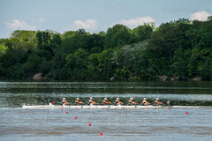 Michigan State University rowers. Michigan State University battle it out at Eagle Creek Park, Indianapolis during the 2014 Big 10 Conference, Rowing Royalty Free Stock Images