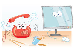 Big rrrrring. Office illustration with noisy wicked telephone and sorrowful monitor Royalty Free Stock Photo