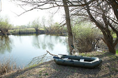 Big rubber boat near lake. In summer day Royalty Free Stock Photos