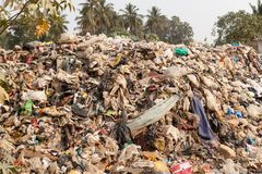 Big rubbish dump by the road at living area stock photo