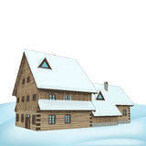 Big rural winter wooden cottage mansion  Stock Photography