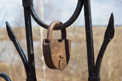 Big rusty padlock stock photography