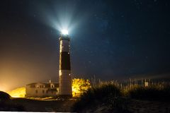 Big Sable Lighthouse at Night with Stars Royalty Free Stock Image