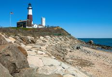 Montuak Lighthouse point royalty free stock photography