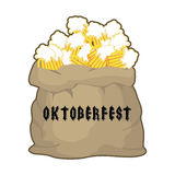 Big sack with mug beer for Oktoberfest . Gift for holiday in Ger Royalty Free Stock Photos