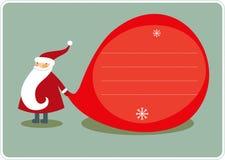 Big sack and Santa. Christmas greeting card. Santa with a sack of gifts Royalty Free Stock Photo