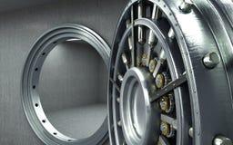 Big safe door with empty ingots High resolution 3D image Stock Images