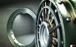 Big safe door with empty ingots High resolution 3D image Stock Photo