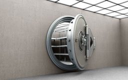 Big safe door with empty ingots High resolution 3D image Royalty Free Stock Image