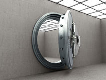 Big safe door with empty ingots High resolution 3D image Royalty Free Stock Photography