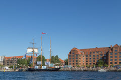 Big sailboat anchored in Copenhagen harbor Royalty Free Stock Images