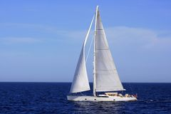 Big Sailboat Sailing In The Mediterranean Sea. Royalty Free Stock Image