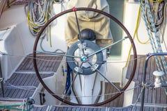 Big sailboat steering wheel stock images
