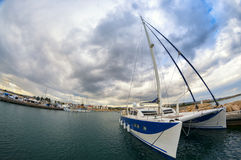 Big sailing catamaran moored Stock Photography