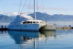 Big sailing catamaran moored Stock Photography