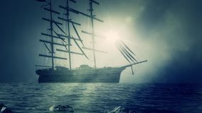 Big Sailing Ship Docking in Shore