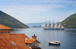 Big sailing ship goes on Bay of Kotor Royalty Free Stock Photography
