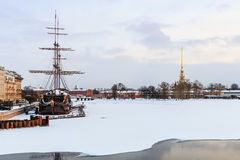 Big sailing-ship at the harbor in winter Stock Images