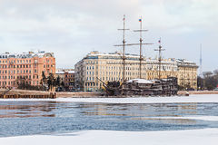 Big sailing-ship at the harbor in winter, st.petersburg Stock Image