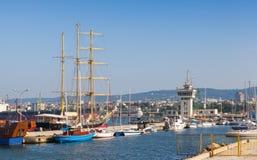 Big sailing ship and pleasure boats moored in Varna Port Royalty Free Stock Photos