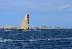 Scallywag With Code Zero Spinnaker Volvo Ocean Race Alicante 2017. Big sails up downwind in Alicante bay on the first leg of the round the World race Royalty Free Stock Image