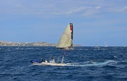 Scallywag With Code Zero Spinnaker Volvo Ocean Race Alicante 2017. Big sails up downwind in Alicante bay on the first leg of the round the World race Royalty Free Stock Images