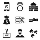 Big salary icons set, simple style Royalty Free Stock Photo