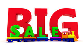 Big sale. Toy train with letters BIG sale Stock Image