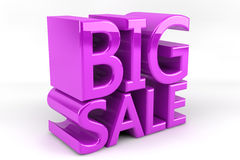 Big Sale. The words Big Sale written in purple and 3D seta against a white background Royalty Free Stock Image