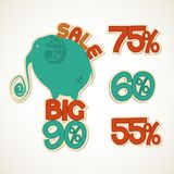 Big Sale. Sticker with elephant Royalty Free Stock Images