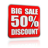 Big sale 50 percentages discount red banner Stock Photography