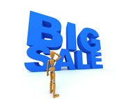 Big Sale. Wooden mannequin standing in front of the words Big Sale vector illustration