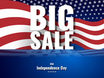 Big Sale. Abstract american background with waving striped flag and starry pattern. Stock Image