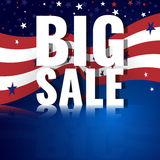 Big Sale. Abstract american background with waving striped flag and starry pattern. Royalty Free Stock Photos