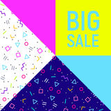 Big sale abstract background, neon memphis style Royalty Free Stock Image