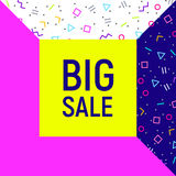 Big sale abstract background, neon memphis style Stock Image
