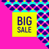 Big sale abstract background, neon memphis style Stock Photos