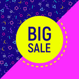 Big sale abstract background, neon memphis style Stock Images