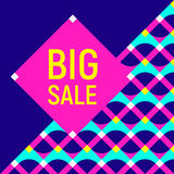 Big sale abstract background, neon memphis style Royalty Free Stock Photo