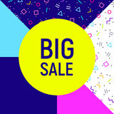 Big sale abstract background, neon memphis style Stock Photo