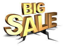 Big sale. Abstract 3d illustration of big sale sign, on ground with crack Stock Photos