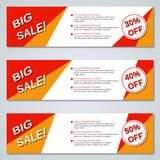 Big sale colorful banners vector templates Royalty Free Stock Images