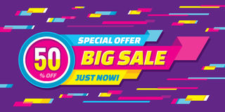 Big sale abstract vector origami horizontal banner - special offer 50% off. Sale vector banner. Sale abstract background. Royalty Free Stock Photography